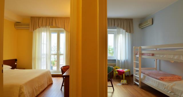 camera quadrupla con letto a castello al BW Hotel Crimea in centro a Torino - garage interno e wifi gratuita
