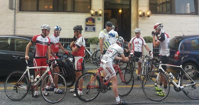 Riders departing from Hotel Crimea